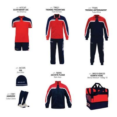 Set complet echipament fotbal Box Platinum Basico, Rosu-Bleumarin, GIVOVA
