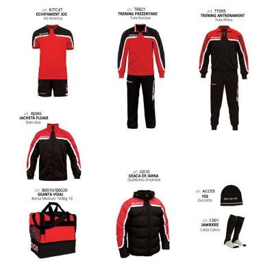 Set complet echipament fotbal Box Platinum, Rosu-Negru, GIVOVA