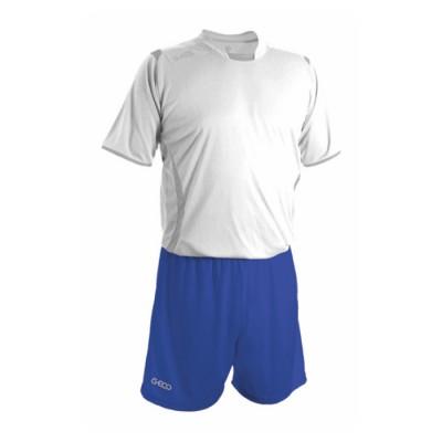 Echipament fotbal alb albastru GECO